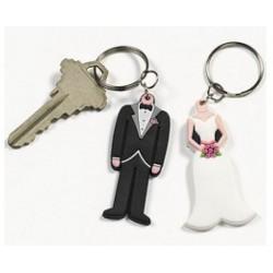 Grappige set rubberen sleutelhangers met een bruid en bruidegom