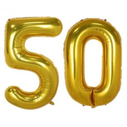 Twee reuzen folie ballonnen goud die samen het getal 50 vormen